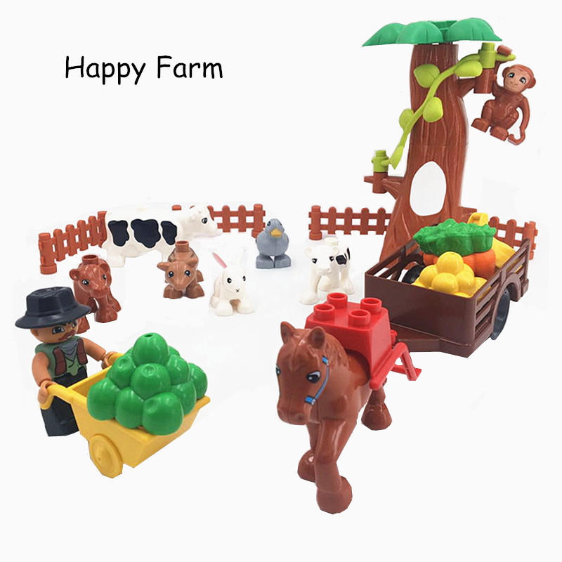 Animals Duploe Farm Horse Accessories Building Blocks Eduactional Toys For Children Duploed Toys For Children Kids Xmas Gifts