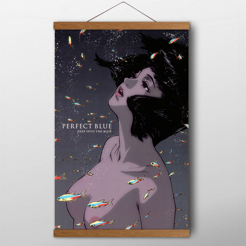 Solid Wood Scrolls Painting Perfect Blue 1997 Anime Movie Girls Wall Art Classic Poster Canvas Prints For Room Decor Painting Calligraphy Aliexpress