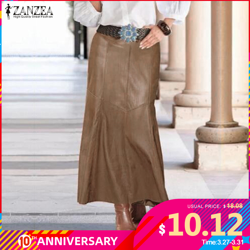 ZANZEA 2020 Casual High Waist A-Line Skirt Female Solid OL Fashion PU Leather Skirts Women's Spring Vestidos Robe Plus Size