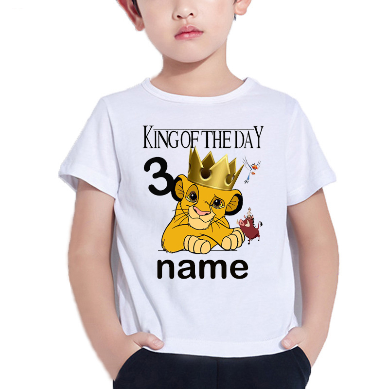 2020 Number 1-10 Lion King Birthday Boys Shirts Boy's Simba Shirt Baby Girls Clothes Short Sleeve Tee Tops For 2-9 Years Olome99