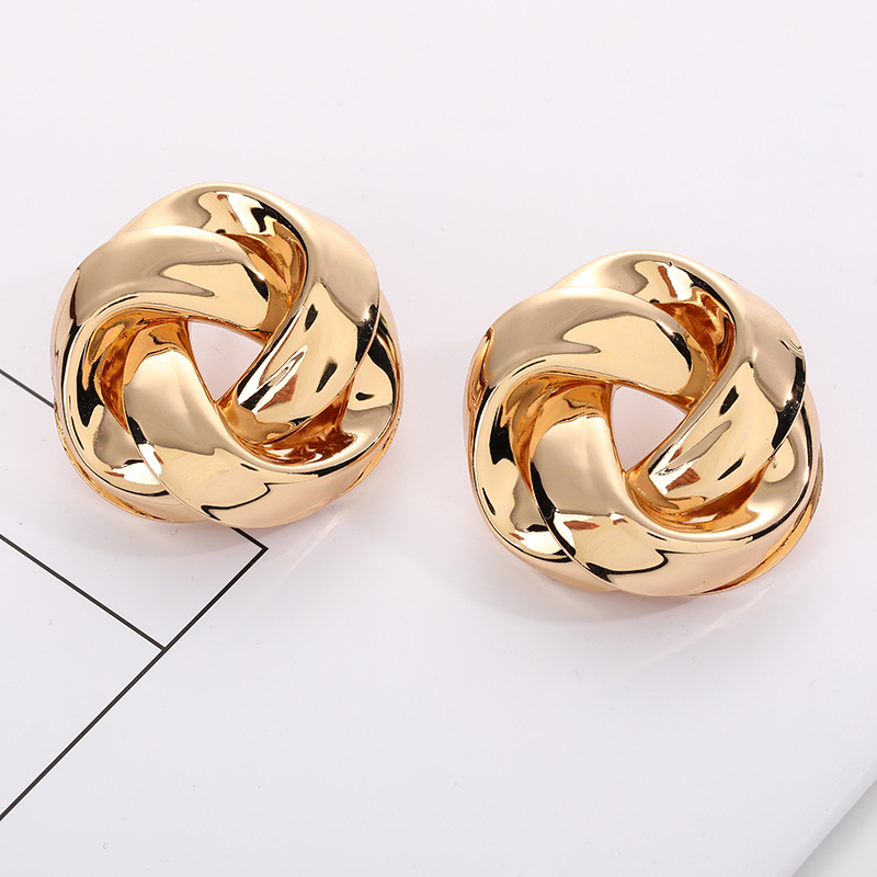 Big Vintage Metal Twisted Dangle Earrings For Women Charm Gold Color Za Maxi Statement Spiral Whirlpool Earrings Jewelry