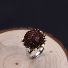 FNJ Peony Flower Rings 925 Silver Adjustable Size Open Popular S925 Solid Silver Ring for Men Jewelry Fine Lobular rosewood(China)