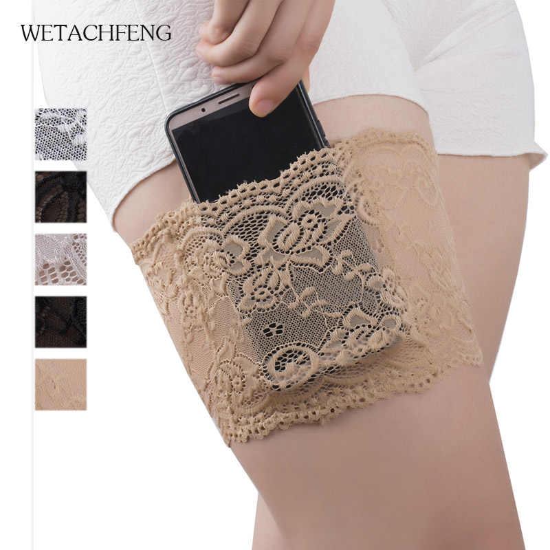 1PCS 여성 레이스 허벅지 밴드 높은 탄성 다리 따뜻하게 커 프 스 전화 포켓 카드 셀 Anti-slip 허벅지 포켓 Anti Chafing Leg Warmer