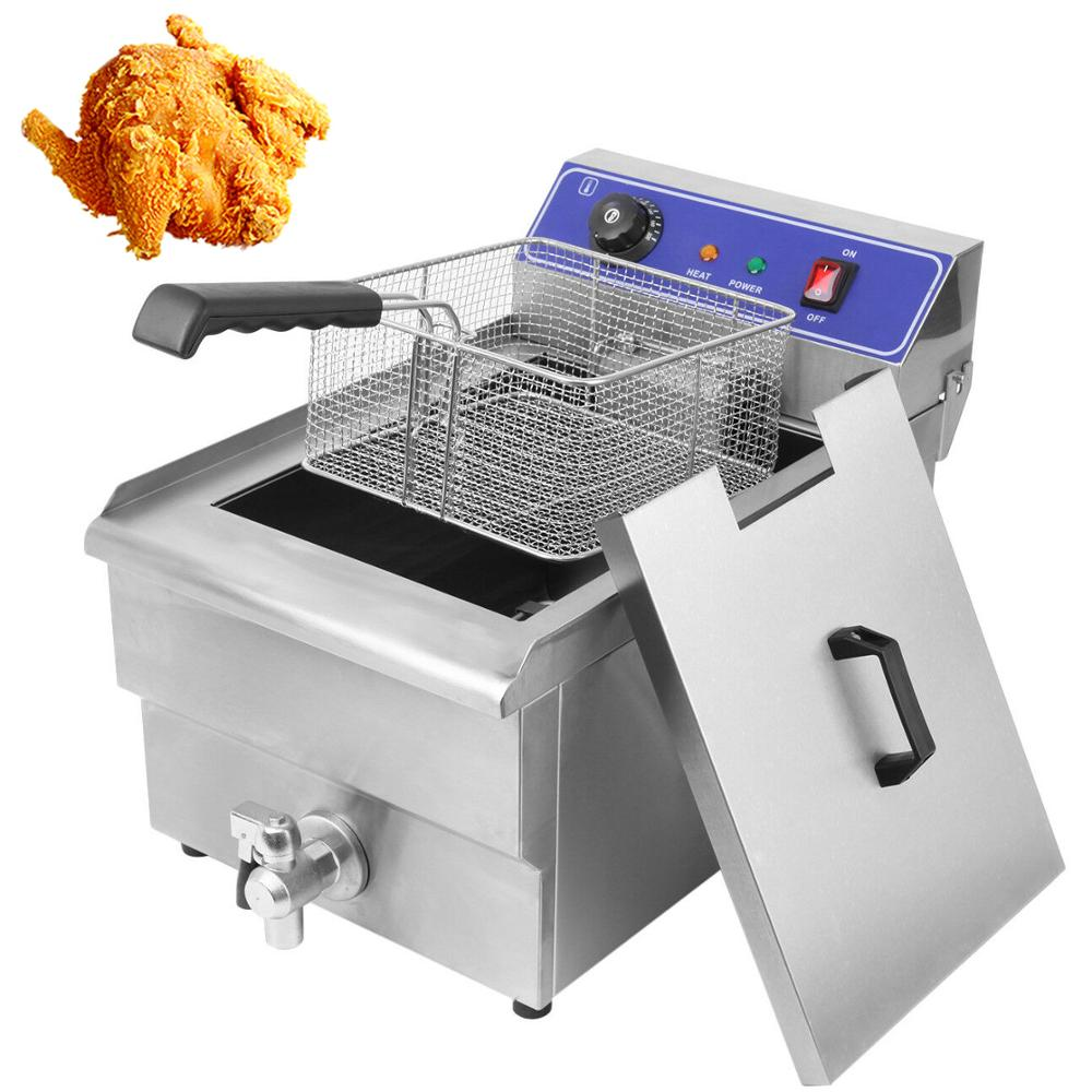 Yonntech Stainless Steel Electric Fryer Commercial Home Kitchen Frying Chip Cooker Basket For Buffalo Wings 5KW 16L
