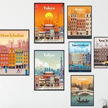 Más estilo New York Holanda Amsterdam Londres Vintage viajar ciudades Impresión de paisaje de seda Poster Home Wall Decor 24x36inch