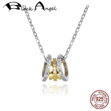 Gold Color Clear Three Circles Round Shape CZ Pendant Necklaces For Women 925 Sterling Silver Wedding Fine Jewelry real 925 sterling silver alphabet o zircon pendant necklaces for women cz geometric wedding fine jewelry