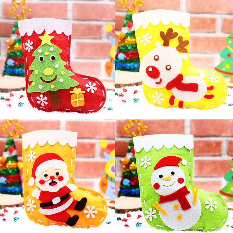 Kids Arts And Crafts Christmas Stockings Kindergarten Handmade DIY Educational Toys Christmas Gift Bags For Children