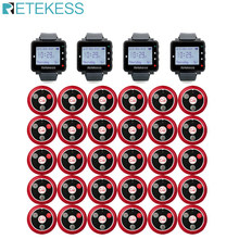Retekess Restaurant Pager Hookah Wireless Waiter Call System 4Pcs T128 Watch Receiver+30Pcs T117 Call Button Cafe Clinic