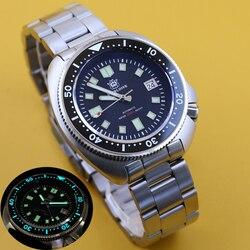 Стальные погружные 200 м погружные часы автоматические механические мужские часы NH35 Япония C3 Супер Светящиеся дайвер часы мужские часы нерж...
