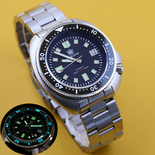 Men's Watch Automatic Mechanical NH35 Japan-C3 Super-Luminous Steeldive 200m Diver Stainless-Steel