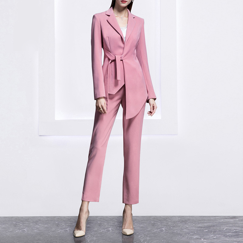 High-end Fashion Pink Professional Wear Women's Suit Temperament OL Office Ladies Suit Nine Pants Two Sets Of Women's Overalls