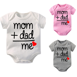 High Quality Newborn Baby Cotton Romper Short Sleeved Jumpsuit Mom Plus Dad Equal Me Letter Printed Toddler O-Neck Cute Bodysuit