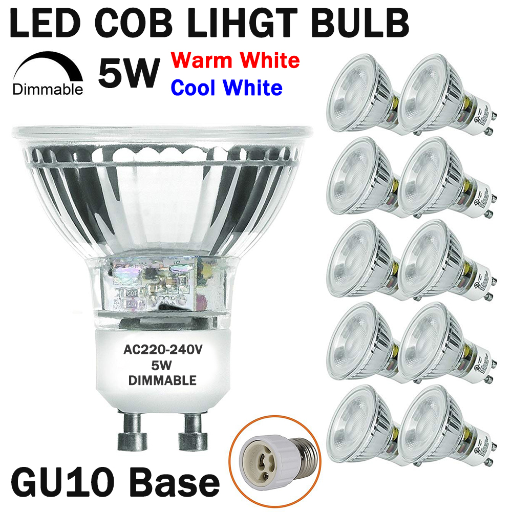 Dimmable LED GU10 Spotlight Light Bulbs 50 Watt Equivalent 5W Dimmable Full Glass Cover Reflector Warm/Cool White LED Bulb D25