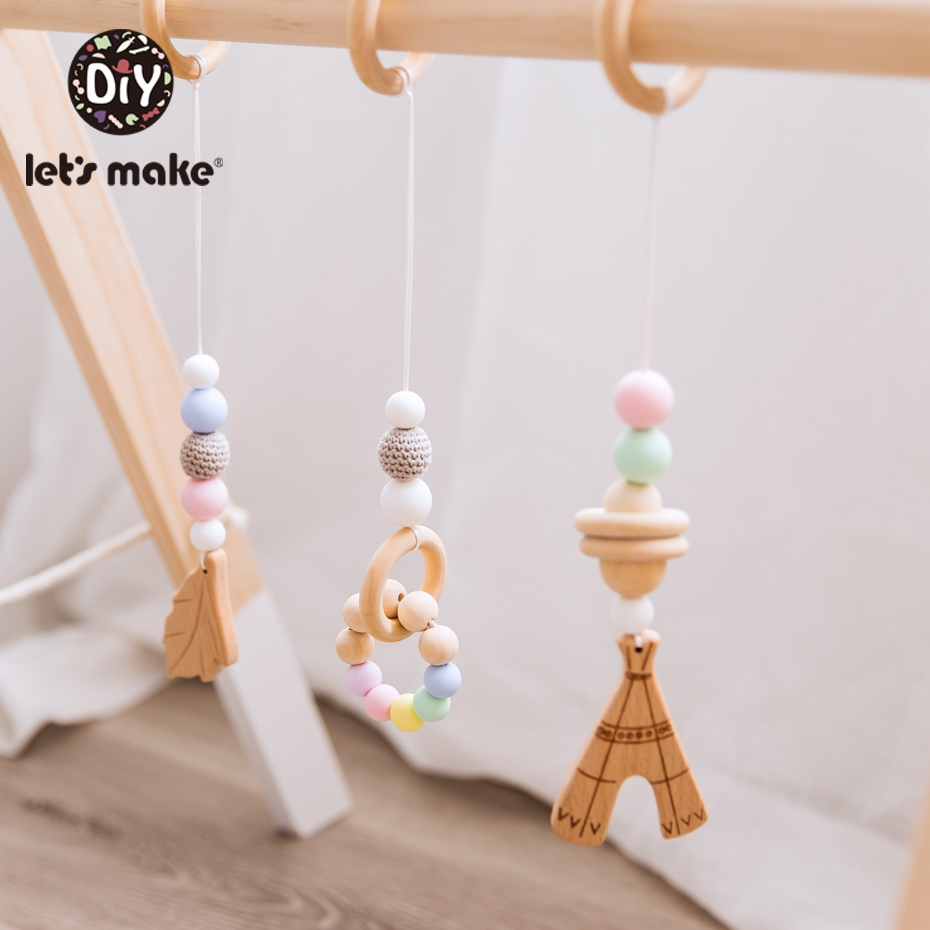 Let's Make 3pc/set Baby Stroller Pendant Teething Wooden Crochet Silicone Beads Newborn Comfort Toy Stroller Accessories