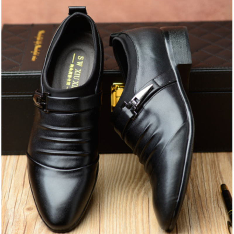 Men Fashion Leather Shoes Comfortable Flats Shoes Pointed Toe Business Wedding Formal Dress Shoes British Style
