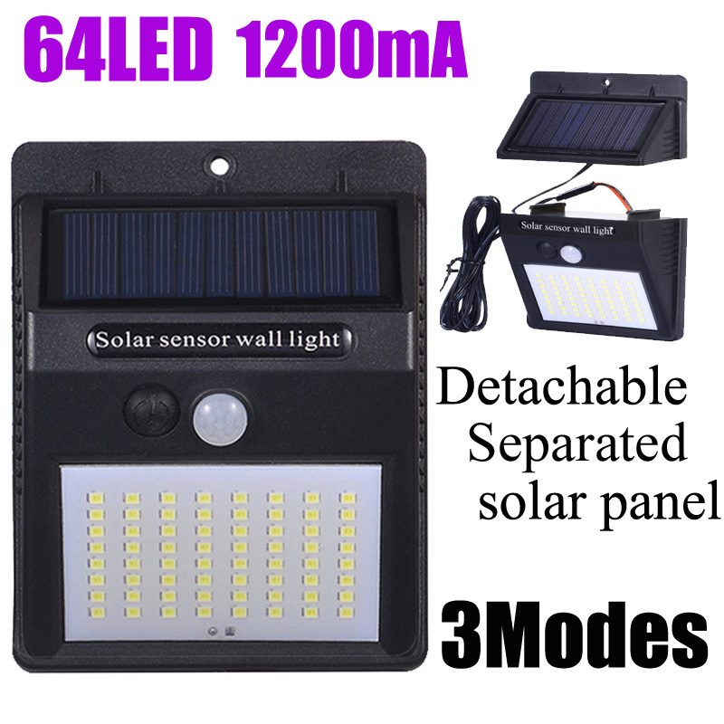 A2 PIR Motion Sensor Solar Lamp Lantern 64LED 1200mA Solar Power Wall Light Outdoor Waterproof Garden Separate Solar Panel
