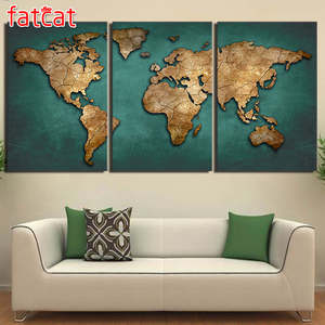 FATCAT full Square Round Daimond Mosaic Embroidery Triptych diamond painting Vintage Continent Pictures 3 Pieces World Map AE238