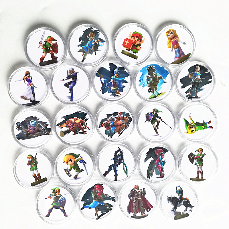 New Data Full Set 24Pcs The Legend of Zelda Collection Coin <font><b>Card</b></font> NFC Tag For <font><b>Amiibo</b></font> <font><b>Card</b></font> Ntag215 NS Switch WiiU Link's Awakening image