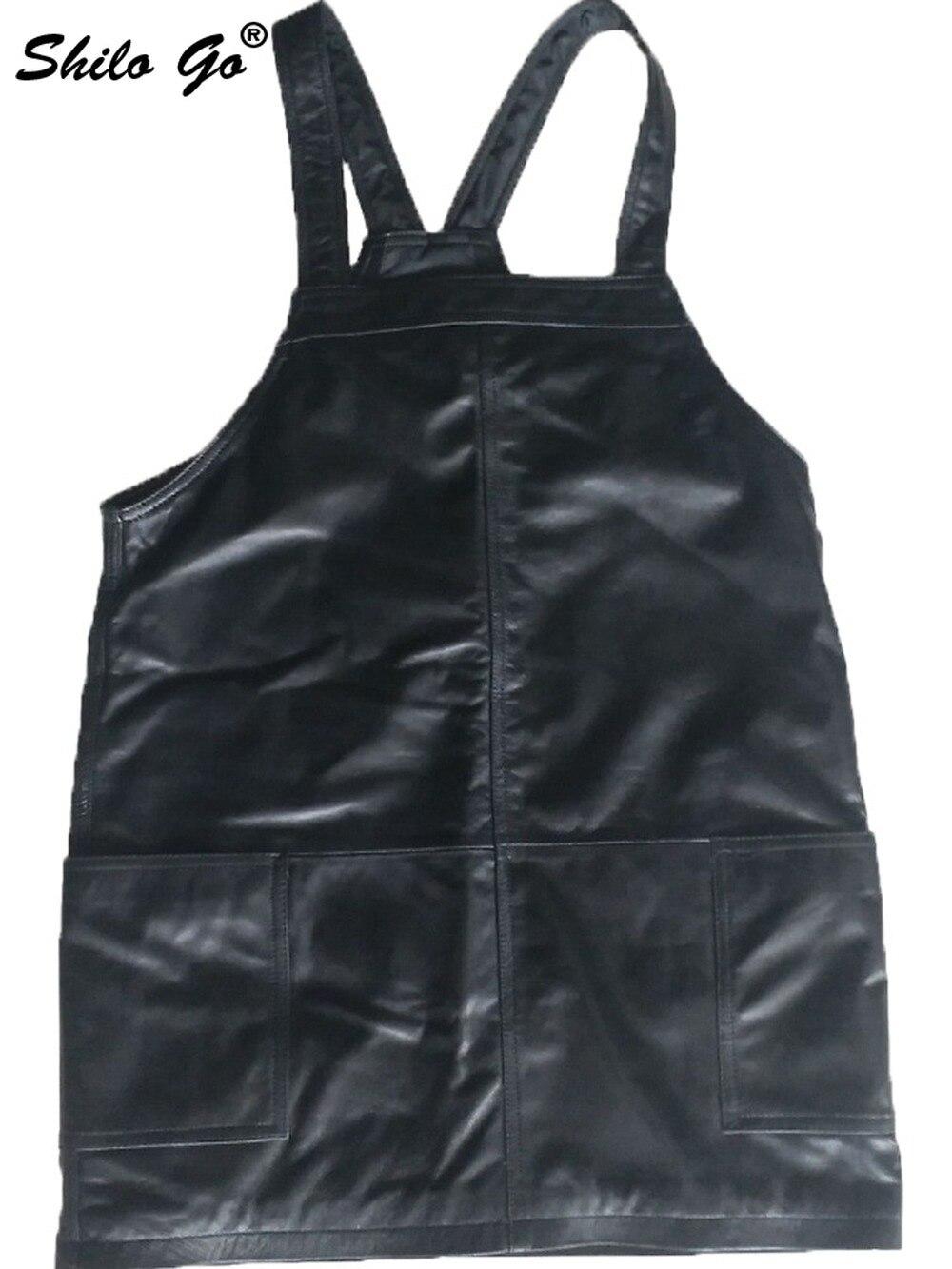 Genuine Leather Dress Black Solid Sleeveless Strap Dress Women Autumn Casual Plus Size Pocket Front Backless Sheepskin Dresses - 2