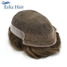 Мужской парик из человеческих волос супертонкая кружевная Передняя