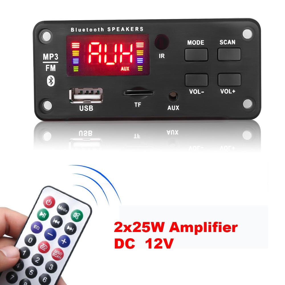 12v * 50W amplificateur MP3 décodeur carte couleur écran Bluetooth V5.0 voiture lecteur MP3 USB Module denregistrement FM AUX Radio pour haut-parleur