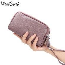 WESTCREEK Fashion Women Wallets Wristband Purses Female Girl Genuine Leather Coin Phone Money Bag