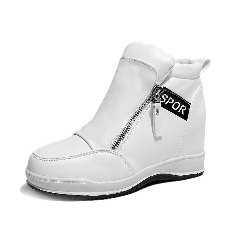 VIGOR FRESHNESS ฤดูใบไม้ร่วงปั๊มรองเท้าผู้หญิง Wedges รองเท้าส้นสูงฤดูใบไม้ผลิผู้หญิงความสูงเพิ่มปั๊มสีขาวรองเท้าผ้าใบรองเท้า WY160