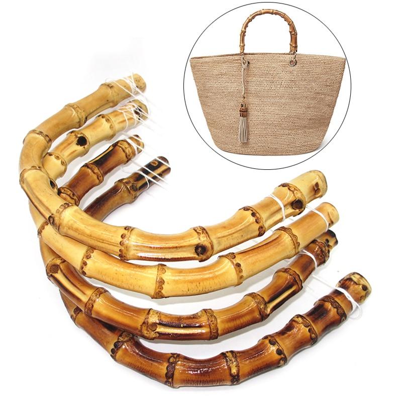 1PC Nature Bamboo Bag Handle For Handcrafted Handbag DIY Bags Accessories 2019 New Round Semicircular Bag Strap Anse De Sac
