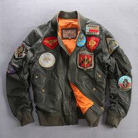 Genuine Men\'s Air Force Leather Jacket with Patches Plus Size Fashion Army Green Pilot Flight Jacket Baseball Coat Men 6XL