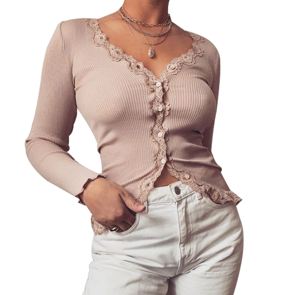 Women's V Neck Long Sleeve Knitted Sweater Ladies Jumper  Tops Lady Lace Up Sweaters Female Solid Button Coats