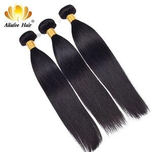 """Image 4 - Aliafee włosy peruwiańskie proste włosy wyplata 3/4 oferty pasma prostych włosów 8 """" 30"""" ludzki włos do przedłużania włosów Remy Natural Color"""