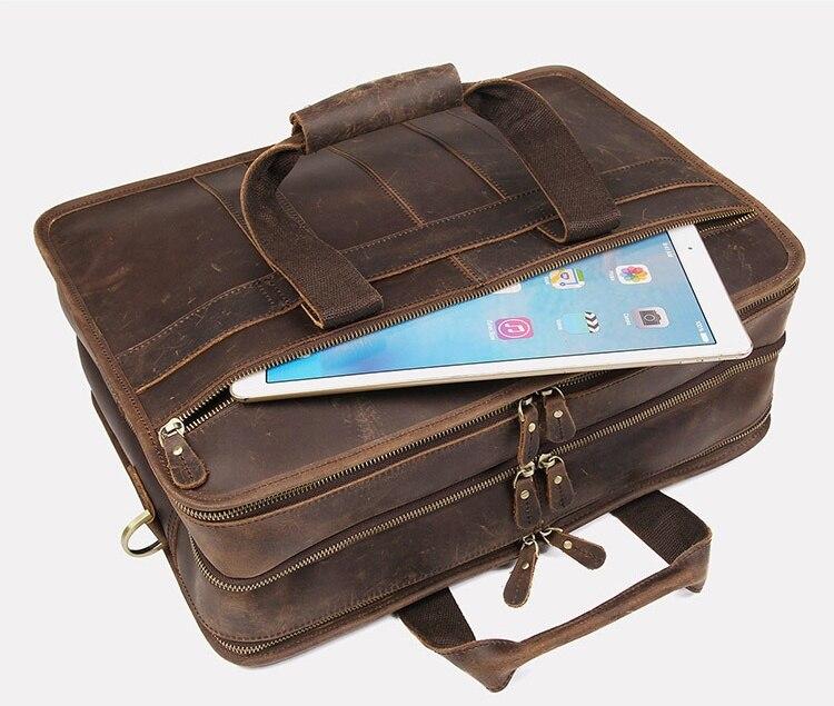 H79256495d6b444afa47b34cf97de63d7N MAHEU Vintage Leather Mens Briefcase With Pockets Cowhide Bag On Business Suitcase Crazy Horse Leather Laptop Bags 2019 Design