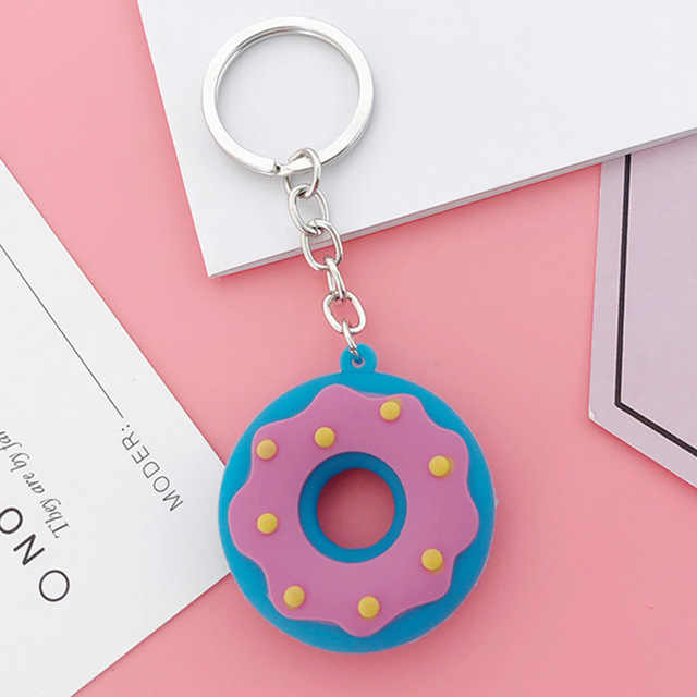 Mini lindo Donut anillo bolsa encanto de Donut de lindo llaveros mujeres regalo o niñas regalo llavero coche colgante