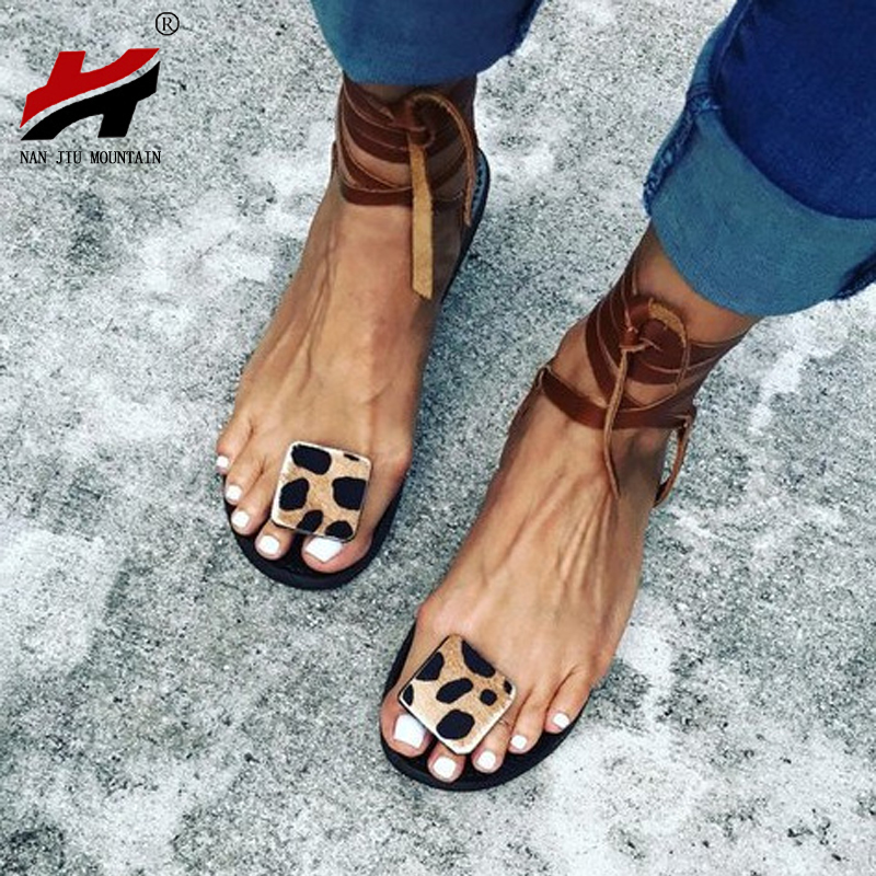 NAN JIU MOUNTAIN 2020 Summer Strap Sandals Women's Flats Open Toe Leopard Casual Shoes Rome Plus Size 35-43