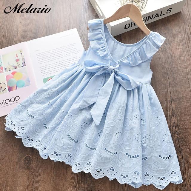 Melario Fashion sukienki dla dziewczynek Baby Girl Ruffles sznurkiem ubrania z kokardą dzieci sukienki bez rękawów ubrania dla dzieci sukienka z okrągłym wycięciem na szyi