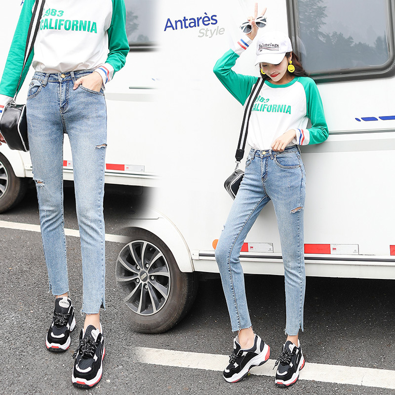 2019 Autumn Clothing New Products Korean-style High-waisted With Holes Jeans CHIC Tight-Fit Capri Skinny Pants INS Students Pant