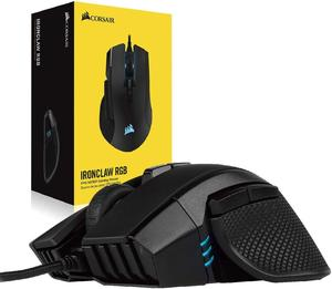 CORSAIR IRONCLAW RGB, FPS/MOBA игровая мышь, черный, с подсветкой RGB светодиодный, 18000 DPI, оптический (версия CN)
