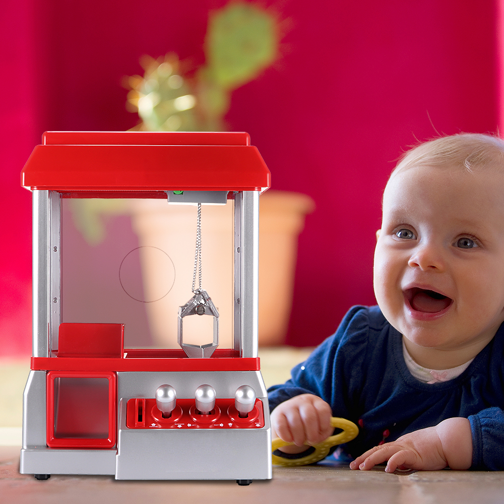 Clock Coin Operated Toy Educational Machine Crane Machine Candy Doll Grabber Claw Arcade Games Automatic Mini Vending Kit Kids