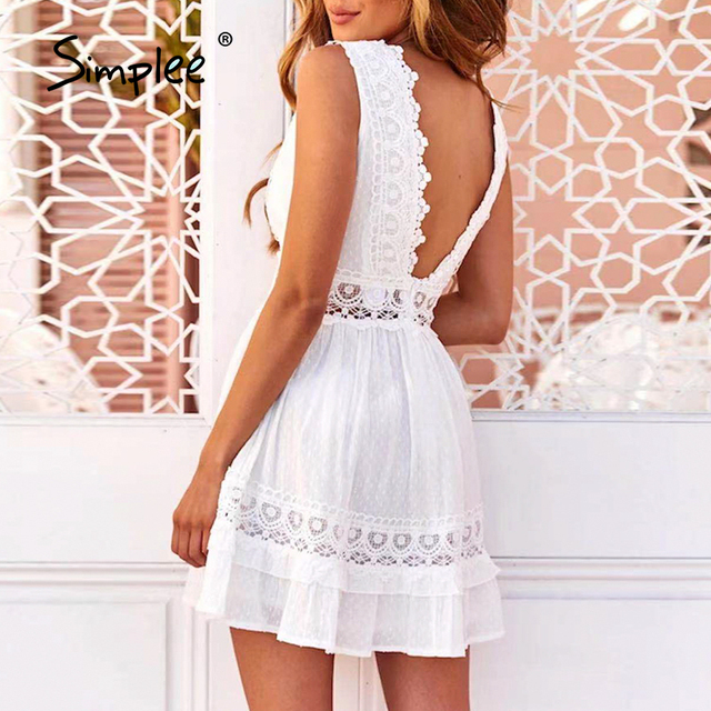 Simplee Sexy V-neck White Stitching Mini Dress Casual Sleeveless Lace Summer Women Beach Dress Backless Embroidered A-line Dress 4