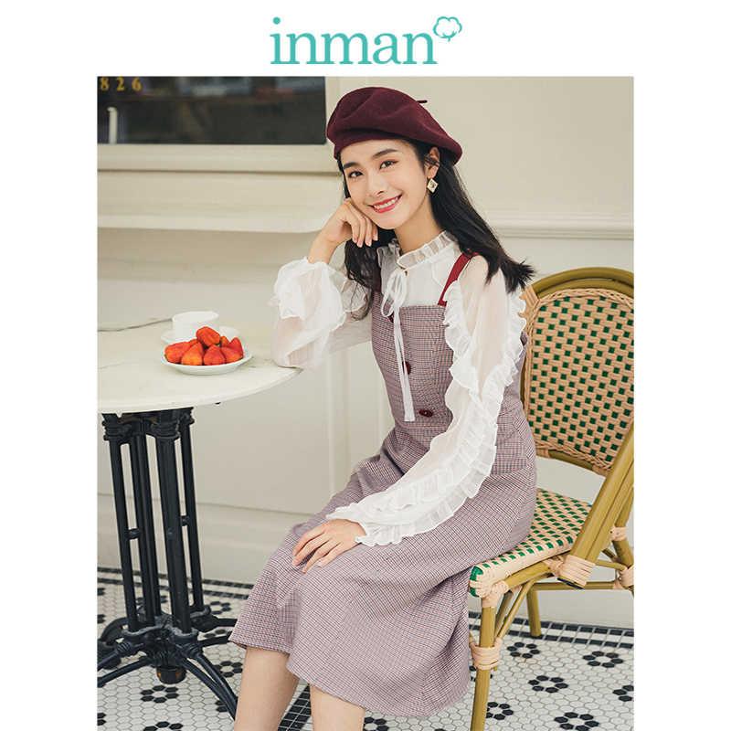 INMAN, осень 2019, Новое поступление, Молодежный литературный стиль, Ретро стиль, контрастная шнуровка, клетчатое, с определенной талией, ТРАПЕЦИЕВИДНОЕ женское платье