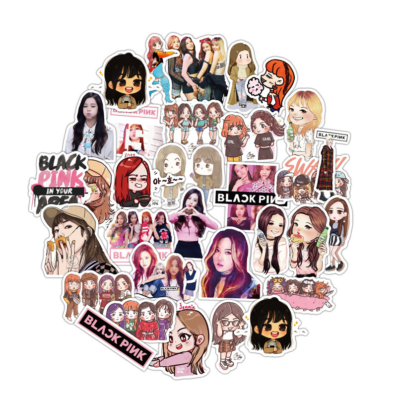Newest 54PCS Blackpink Stickers Waterproof Pegatinas Skateboard Snowboard Desk Notebook For Children Boy Girl <font><b>Fans</b></font> kpop Stickers image