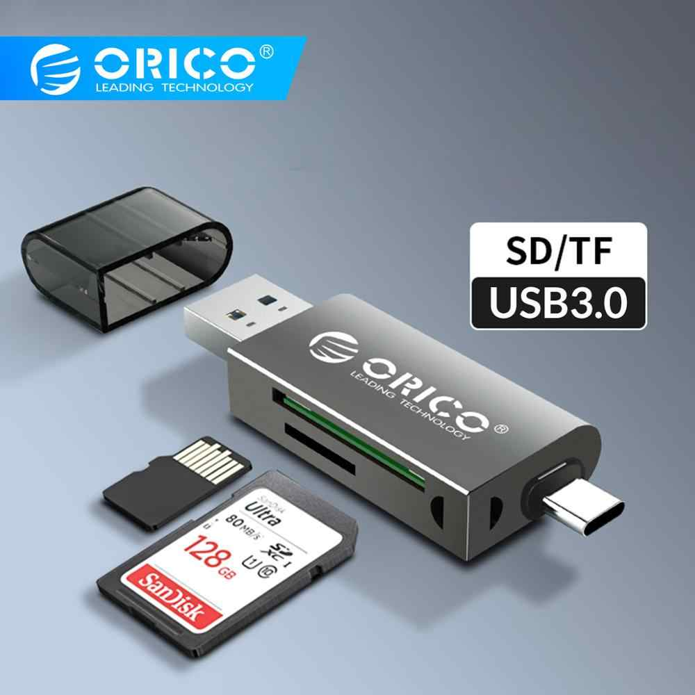 Orico Card Reader USB 3.0 2 In 1 SD/Micro SD TF OTG Smart Memory TYPE C Card Reader kecepatan Tinggi Adaptor untuk PC Komputer Laptop