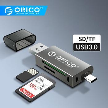 ORICO karty czytnik USB 3 0 2 w 1 SD Micro SD TF OTG inteligentny pamięci czytnik kart Type C szybki Adapter do komputer stancjonarny na laptopa tanie i dobre opinie Zewnętrzny All in 1 multi w 1 SD Card Karty tf CRS21 AA-CDR02 Black White Dark gray SD TF TF SD Card Reader USB SD Adapter