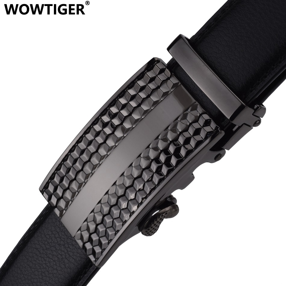 WOWTIGER Gun color buckle Black cowhide Leather mens belt male High quality luxury brand designer automatic buckle belts for men