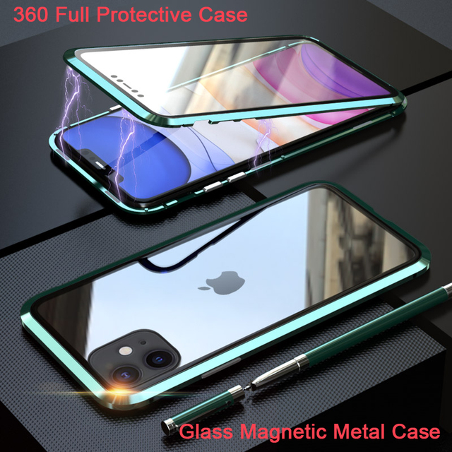 360 Full Protect Magnetic Case for iPhone XR XS MAX X 9 8 7 Plus SE 2020 Case Glass Cover for iPhone 11 Pro Max Case coque Funda