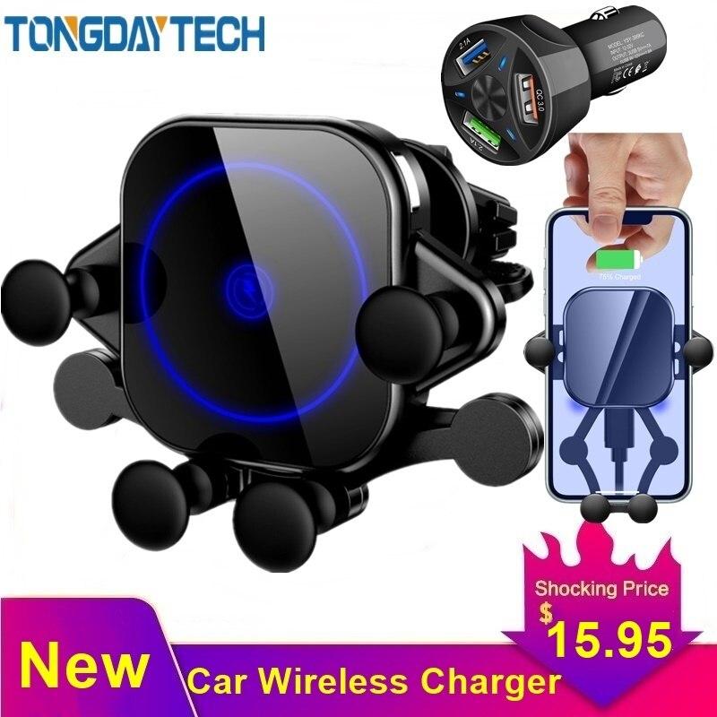 Cargador inalámbrico rápido Tongdaytech 15W para coche Qi para iPhone 8 X XS 11 Pro Max Cargador Inalambrico para coche para Samsung S10 S9 S8