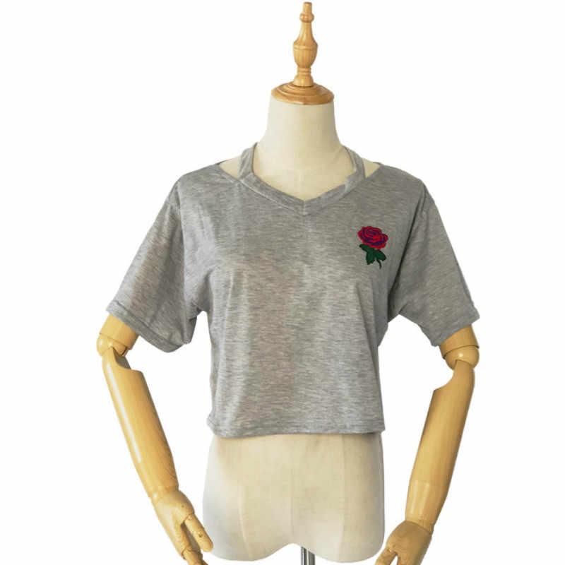 Damski krótki, w kwiatki T Shirt letni seksowny drążą krótki rękaw w stylu casual, czarny biały krótki top różany haftowany t-shirt nowy