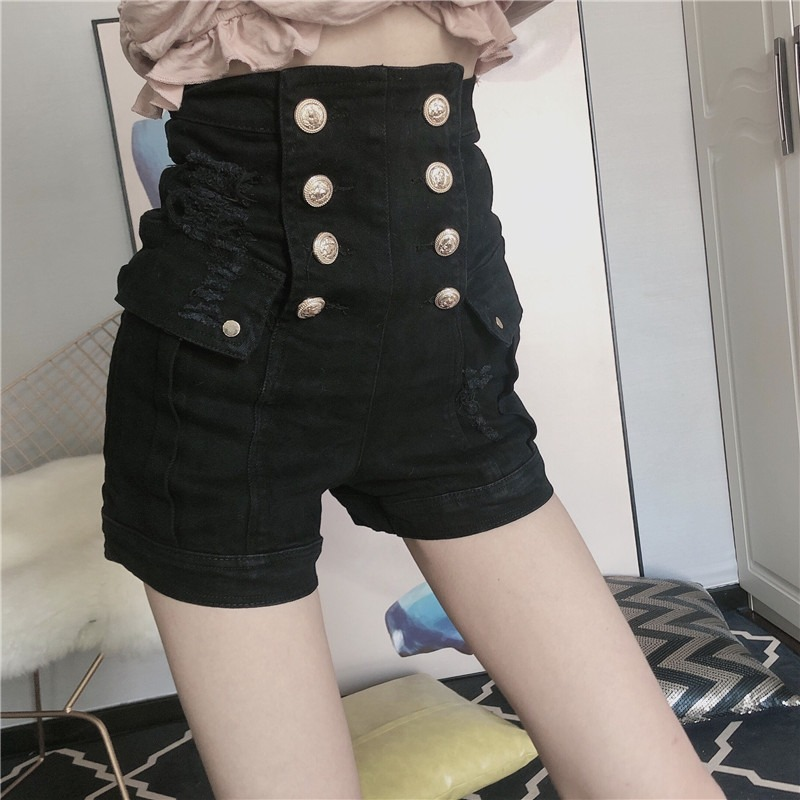 Woman Shorts High Waist Skinny Sexy Jeans Short Vintage Solid Double Breasted Hole Streetwear Slim Denim Shorts 2020 Fashion