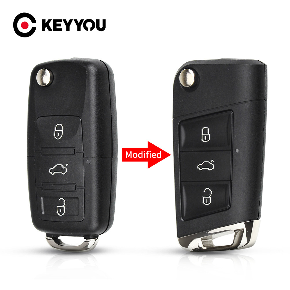 KEYYOU 10x 3 Buttons Folding Flip <font><b>Remote</b></font> <font><b>Key</b></font> Shell Cover With Blade for Volkswagen VW <font><b>Golf</b></font> <font><b>7</b></font> Jetta Passat Beetle Polo Bora image