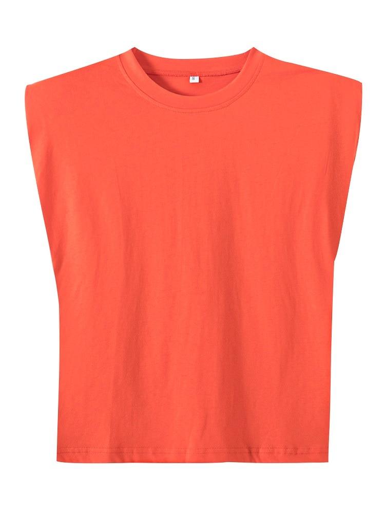 2020 Women za Fashion Solid 95% Cotton Shoulder pad T-shirt Vintage O-Neck Sleeveless Tops Casual Girls Streetwear 14